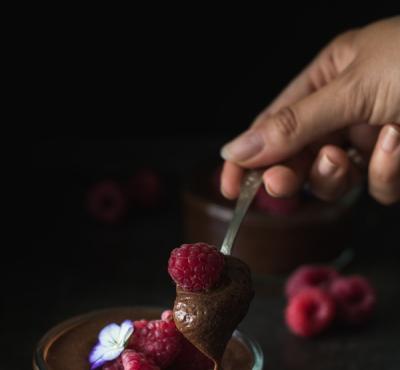 Krem czekoladowy z malinami